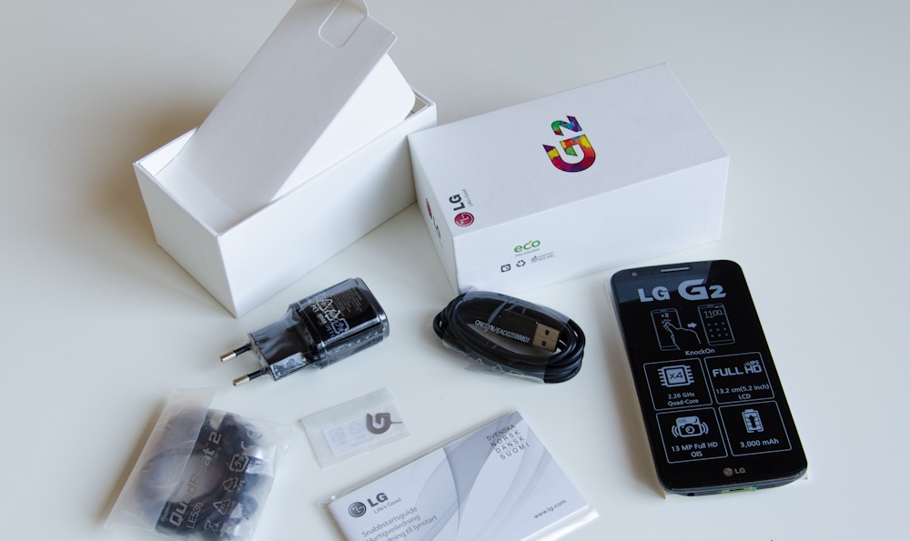 LG G2 обзор комплектации и параметры телефона - комплект поставки