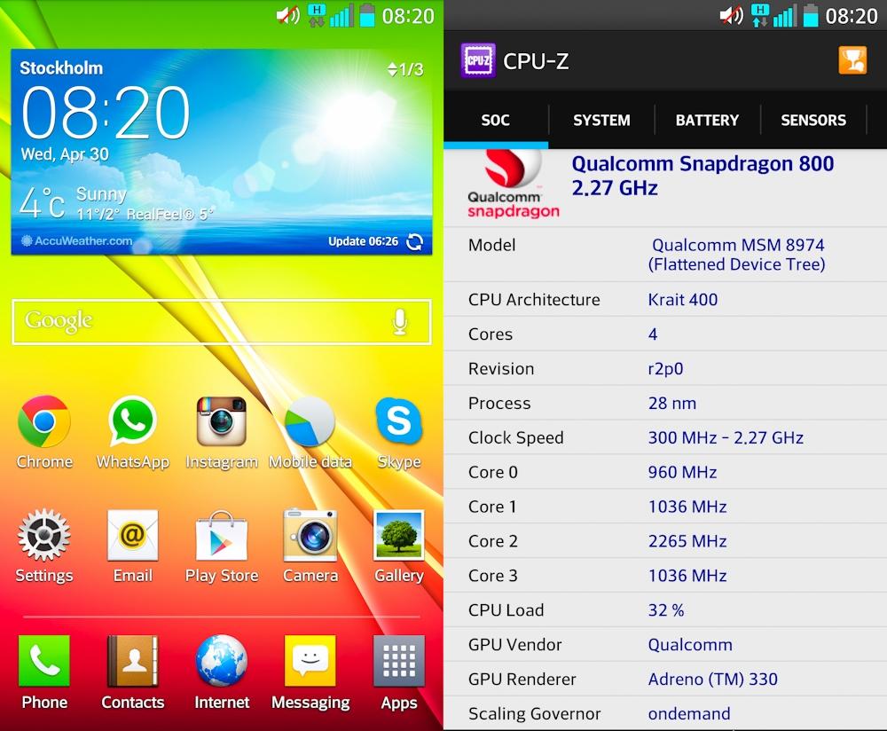 LG G2 обзор комплектации и параметры телефона - характеристики телефона скриншоты CPU-Z